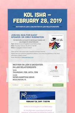 Kol Isha - February 28, 2019