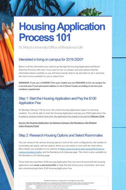 Housing Application Process 101