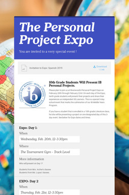 The Personal Project Expo