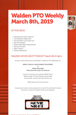 Walden PTO Weekly March 8th, 2019