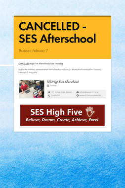 CANCELLED - SES Afterschool
