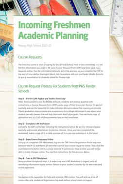 Incoming Freshmen Academic Planning