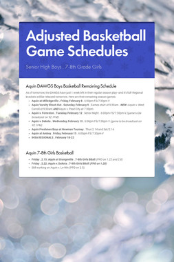 Adjusted Basketball Game Schedules