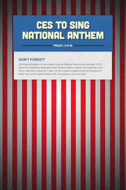 CES To Sing National Anthem