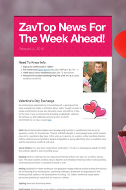 ZavTop News For The Week Ahead!