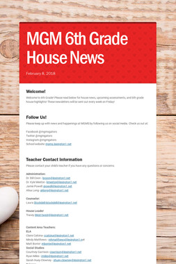 MGM 6th Grade House News