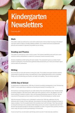 Kindergarten Newsletters