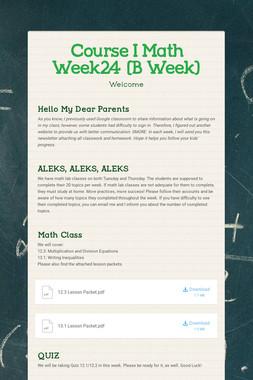 Course I Math    Week24   (B Week)