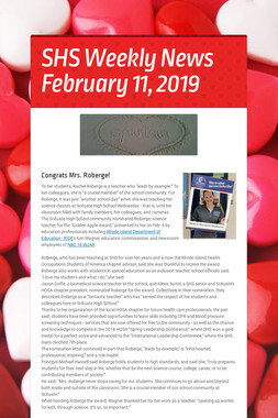 SHS Weekly News February 11, 2019