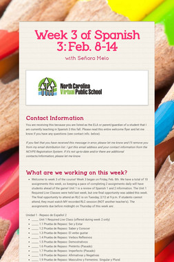 Week 3 of Spanish 3:  Feb. 8-14