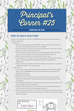 Principal's Corner #25