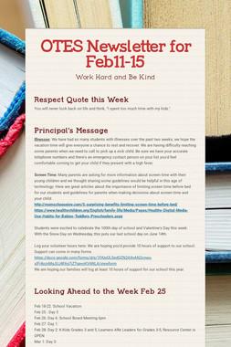 OTES Newsletter for Feb11-15