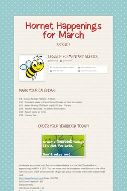 Hornet Happenings for March