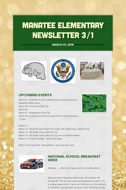 Manatee Elementary Newsletter  3/1