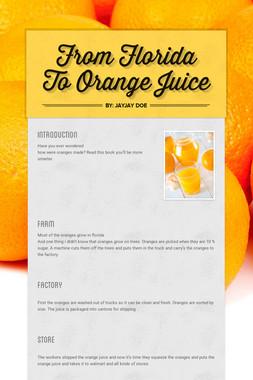 From Florida To Orange Juice