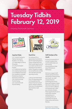 Tuesday Tidbits February 12,  2019