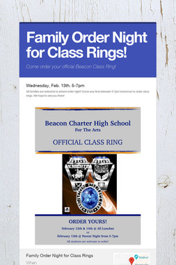 Family Order Night for Class Rings!