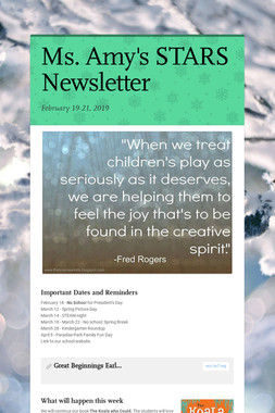 Ms. Amy's STARS Newsletter