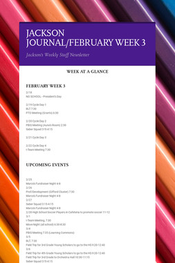 JACKSON JOURNAL/FEBRUARY WEEK 3
