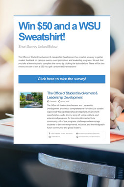 Win $50 and a WSU Sweatshirt!