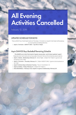 All Evening Activities Cancelled