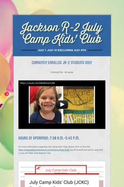 Jackson R-2 July Camp Kids' Club