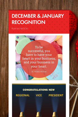DECEMBER & JANUARY RECOGNITION