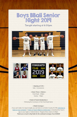 Boys BBall Senior Night 2019