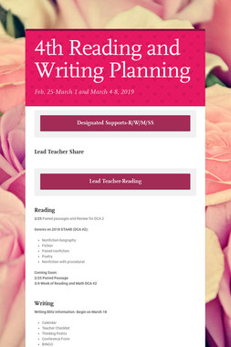 4th Reading and Writing Planning