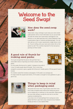 Welcome to the Seed Swap!