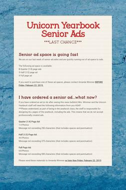 Unicorn Yearbook Senior Ads
