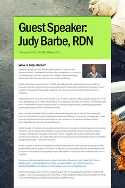 Guest Speaker: Judy Barbe, RDN