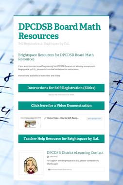 DPCDSB Board Math Resources