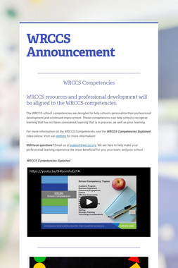 WRCCS Announcement