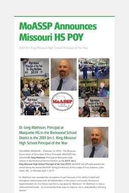 MoASSP Announces Missouri HS POY