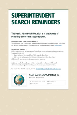 SUPERINTENDENT SEARCH REMINDERS