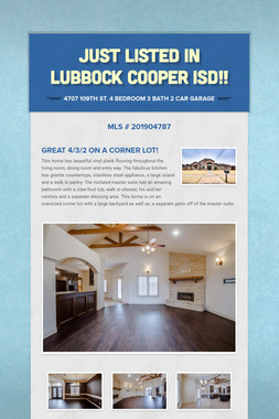 Just Listed in Lubbock-Cooper ISD!
