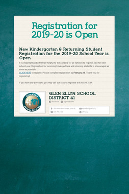 Registration for 2019-20 is Open