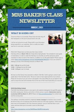 Mrs Baker's Class Newsletter