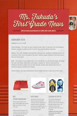 Ms. Fukuda's First Grade News