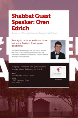 Shabbat Guest Speaker: Oren Edrich