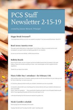PCS Staff Newsletter 2-15-19