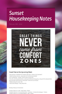 Sunset Housekeeping Notes