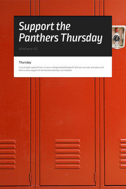 Support the Panthers Thursday