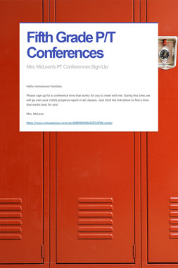 Fifth Grade P/T Conferences