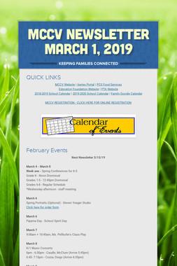 MCCV Newsletter March 1, 2019