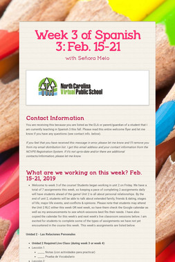 Week 3 of Spanish 3:  Feb. 15-21
