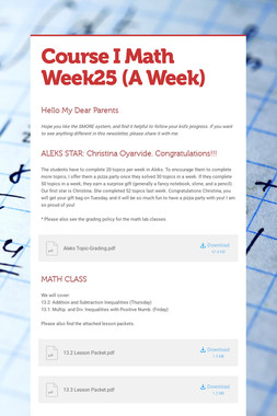 Course I Math    Week25   (A Week)