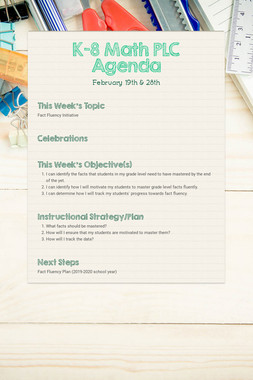 K-8 Math PLC Agenda
