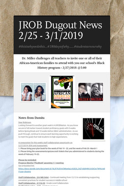 JROB Dugout News 2/25 - 3/1/2019